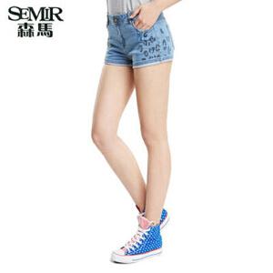 森马夏装新款牛仔短裤韩版女中低腰水洗短裤时尚印花热裤