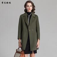 秋冬新款女士翻领九分袖羊毛呢大衣中长款修身外套M-616325