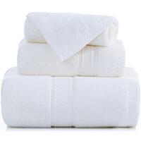 [当当自营]三利 长绒棉加厚缎档方巾/毛巾/浴巾三件套礼盒装 白色