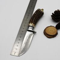 spike 大马士革直刀鹿角白铜战术直刀野外防身手工户外野营锋利刀具收藏珍藏刀