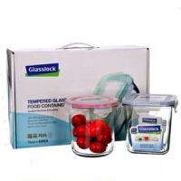 GlassLock/三光云彩 韩国进口玻璃乐扣可微波炉创意饭盒便当盒礼品装两件组 GL44