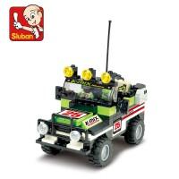 全店满99包邮!小鲁班拼装玩具 积木越野双人汽车模型儿童启蒙益智玩具小积木