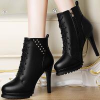 莫蕾蔻蕾欧美短靴女圆头单鞋女铆钉高跟鞋女细跟单靴及裸靴6D592