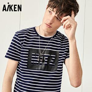 Aiken短袖T恤男士2017夏装新款条纹圆领半袖体恤男复古海军风上衣