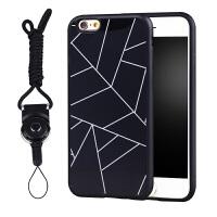简约线条iphone6s手机壳挂绳硅胶创意个性苹果6plus保护套女情侣