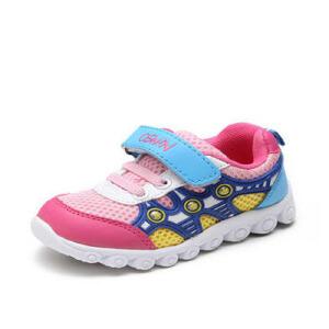鞋柜童鞋拼色休闲女童鞋透气网面舒适魔术贴男童鞋