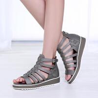 GEMEIQ/戈美其夏季新款深口露趾厚底鞋欧美休闲凉鞋平底女鞋
