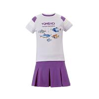 探路者TOREAD品牌童装 户外运动 夏装女童印花短T/短裙套装