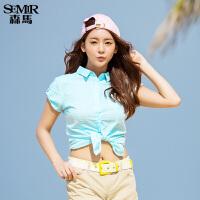 森马短袖衬衫 夏装 女士休闲翻领纯色棉麻直筒衬衣韩版潮