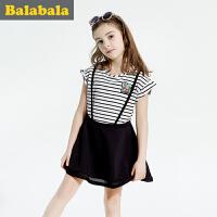巴拉巴拉女童连衣裙中大童学生裙夏季童装儿童裙子条纹淑女裙