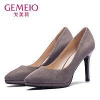 戈美其2017春季新款正品女鞋超高跟防水台尖头时尚女鞋子1711019