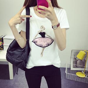 波柏龙  夏韩版学院风短袖T恤女学生纯棉百搭上衣T恤裙