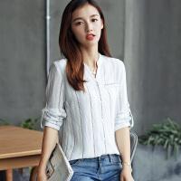 衬衫女长袖修身打底衫2017新款女装韩版v领条纹衬衣