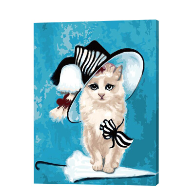diy数字油画 客厅卧室儿童房卡通填色手工绘画可爱动物 猫小姐ml