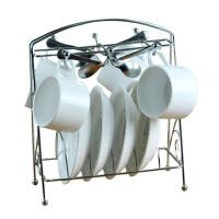 欧式咖啡杯套装 高档咖啡杯 创意13件套 骨瓷咖啡杯碟勺子架子 纯白咖啡杯