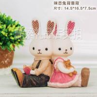 蝶恋兔子摆件 创意吊脚情侣对兔家居装饰品 办公室工艺品结婚礼物