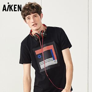 Aiken黑色短袖T恤男生2017夏圆领修身半袖上衣几何印花欧美风体恤