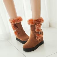 彼艾2016秋冬新款女鞋靴子内坡跟厚底内增高短靴皮带扣毛毛靴高跟雪地靴女靴子