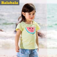 巴拉巴拉女童短袖t恤纯棉小童宝宝上衣童装夏季儿童印花T恤女