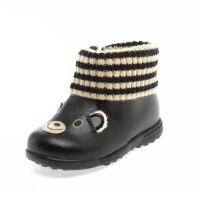 鞋柜SHOEBOX 童鞋冬款小孩鞋可爱小熊毛线拼接加绒皮鞋男童鞋