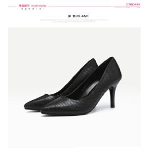 戈美其年秋季浅口尖头优雅女鞋高跟细跟鞋子女单鞋百搭