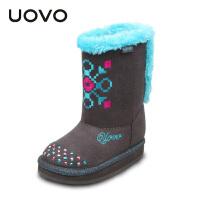 【满200减100】UOVO2017新款童鞋秋冬季童靴女童休闲靴保暖雪地靴  水晶