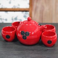 普润 铁艺提梁精品陶瓷大肚壶茶具五件套