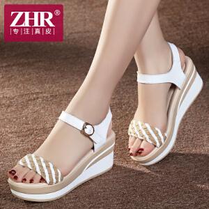 ZHR2017夏季新品韩版女凉鞋坡跟凉鞋女松糕厚底女鞋平底学生凉鞋潮M39