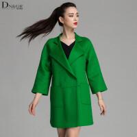 秋冬中长款外套时尚七分袖拼接双面羊毛大衣女装C16060