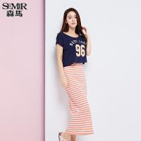 森马连衣裙 夏装 女士圆领字母印花条纹裙子两件套韩版潮