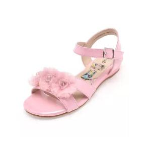 鞋柜/shoebox夏季新款甜美纱花串珠魔术贴平跟露趾女童鞋中童凉鞋