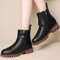 莫蕾蔻蕾 2016冬季新款加绒保暖马丁靴厚底短靴子英伦风女单靴 6D639
