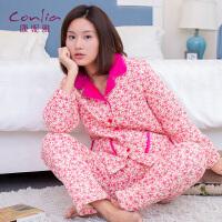 康妮雅冬季家居服 女 浪漫碎花加厚夹棉长袖睡衣套装