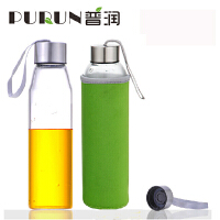普润 550ML耐热玻璃水瓶创意车载玻璃杯子矿泉水瓶带盖茶杯PRB15绿色