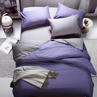 纯色双拼床品四件套/三件套 素色磨毛双拼床单被罩套装