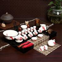 尚帝 红福齐天套装 陶瓷茶具套装 整套功夫茶具茶盘套装42件 TZ-M12K99