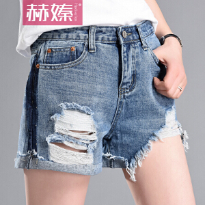 【赫��】2017夏季新款韩版百搭小热裤女不规则修身显瘦毛边牛仔短裤H6711