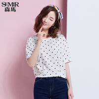 森马短袖衬衫 夏装 女士圆领宽松舒适韩版波点衬衣韩版潮