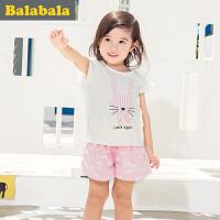 巴拉巴拉女童套装卡通小童宝宝童装夏装儿童短袖短裤两件套女