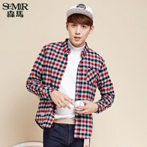森马长袖衬衫 冬装 男士拼接方领领扣格纹休闲衬衣韩版潮