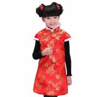 户外贺岁喜庆儿童唐装女童棉旗袍过年装之红红火火 棉服
