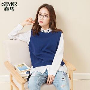 森马针织衫 2017春装新款 女士韩版休闲撞色刺绣长袖衬衫两件套潮