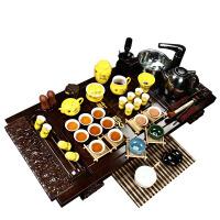 尚帝 杯架祥云黄金龙套装 陶瓷茶具套装 整套功夫茶具茶盘 实木茶盘套装Z-BJXY044