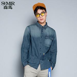 森马长袖衬衫 秋装时尚男士方领水洗牛仔长袖休闲衬衣韩版潮