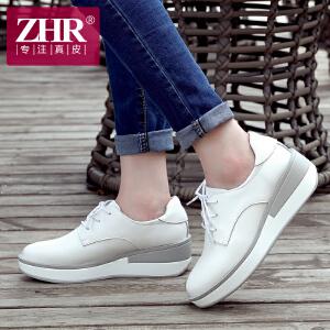 ZHR2017春季新款厚底小白鞋坡跟松糕鞋韩版女鞋真皮休闲鞋女单鞋M111
