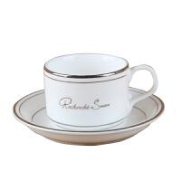 陶瓷杯子 欧式银边骨瓷咖啡杯碟/单品杯/意式杯套装送咖啡勺 大