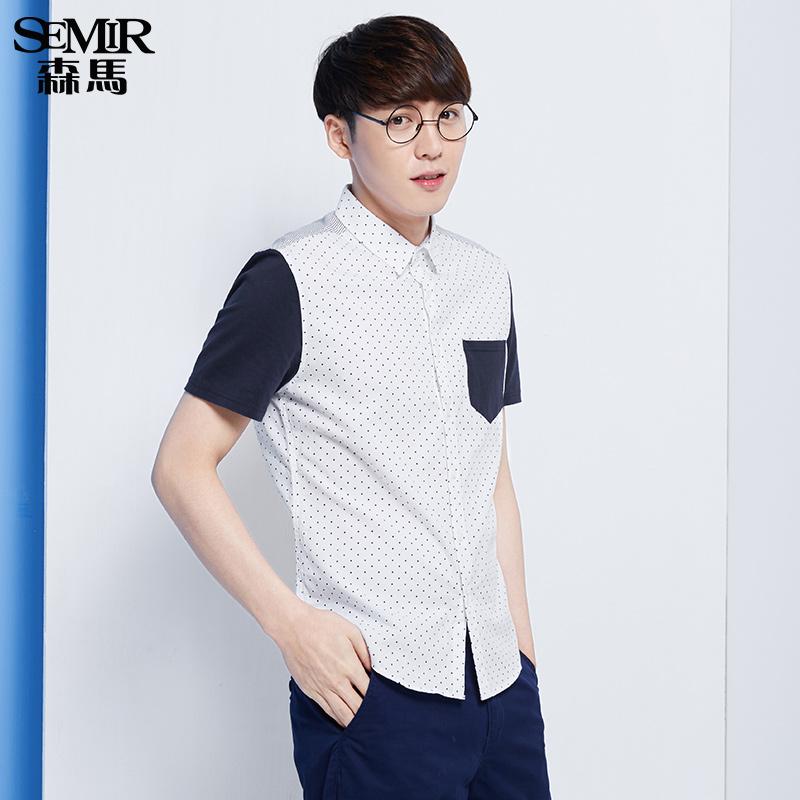 森马短袖衬衫 2016夏装新款 男士方领波点纯棉拼接男装衬衣韩版潮图片