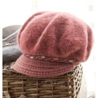女士仿兔毛双层内衬毛线贝雷帽秋冬季时尚保暖短檐帽子