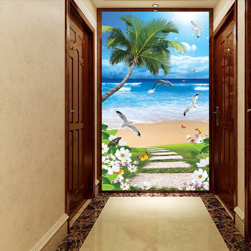墙壁画过道竖版客厅卧室中式墙贴玄关装饰画现代风景-博艺佳欧式手图片
