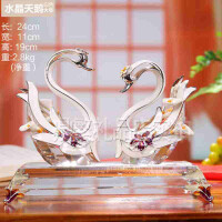 结婚礼物人造玻璃水晶天鹅摆件新婚礼品送朋友送长辈闺蜜创意实用婚房装饰品摆设
